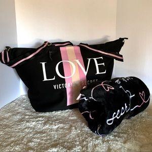 Victoria's Secret tote bag and Plush blanket